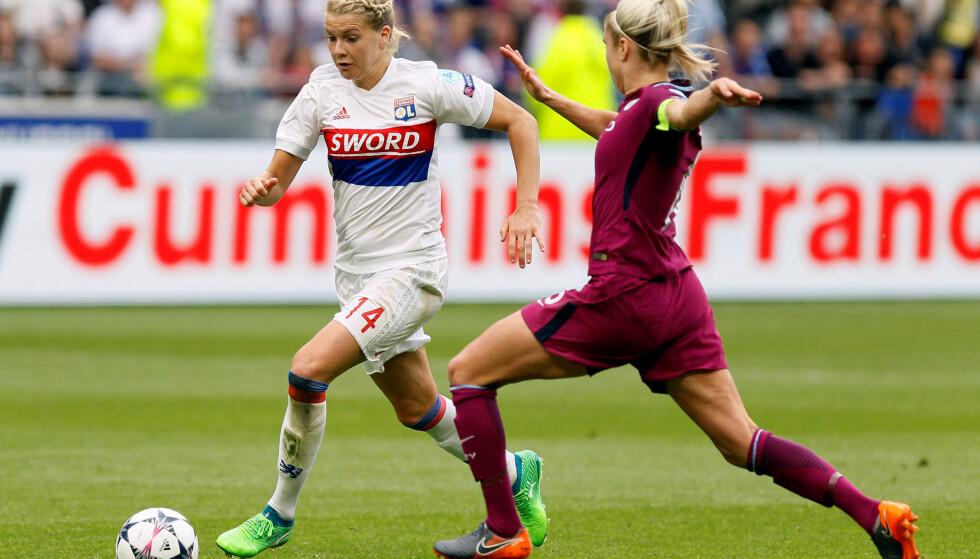GOD: Ada Hegerberg scoret to mot Marseille søndag. Foto:  REUTERS/Emmanuel Foudrot
