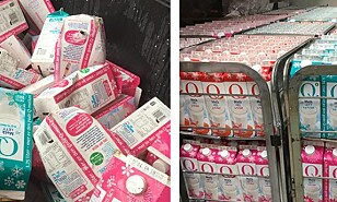 REDDET: 4500 liter melk ble nylig reddet fra å bli kastet. Noen bur hadde veltet under transport. Sjåføren ville ikke kaste den. Havaristen sorterte og solgte melka for en femmer. Foto: Havaristen