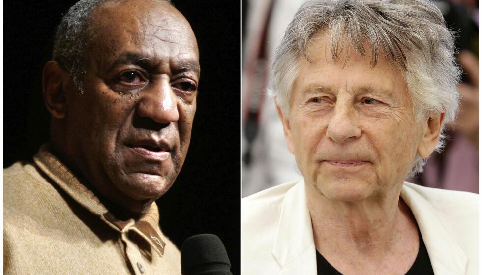 EKSKLUDERT: Skuespiller Bill Cosby og regissør Roman Polanski blir ekskludert fra filmakademiet som blant annet deler ut Oscar-prisene. Foto: NTB Scanpix