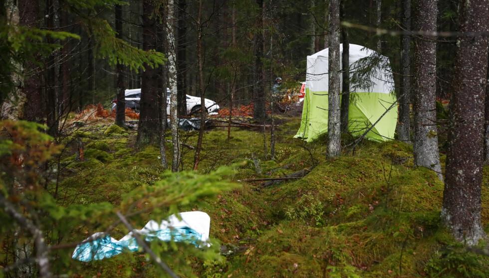 ÅSTEDET: Her er et bilde av åstedet hvor en 20-åring drepte en 59 år gammel kvinne med kniv. Drapet fant sted i ei lysløype ved byen Ulricehamn i Sør-Sverige. Foto: Thomas Johansson / TT