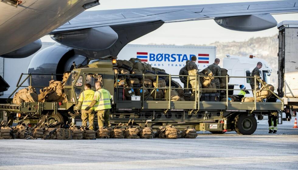 I NORGE: Tre hundre soldater fra det amerikanske marinekorpset (USMC) landet i fjor på Værnes lufthavn utenfor Trondheim. De utgjorde da den første kontingenten av Marines Rotational Force Europe (MRF-E) som er stasjonert i Norge.