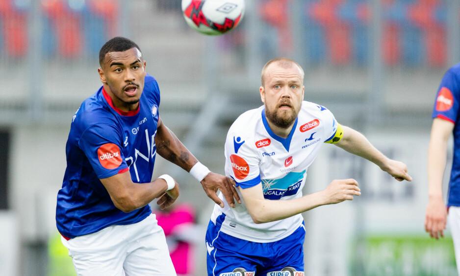 DRØMMEMÅL: Felipe Carvalho (til venstre) utliknet til 1-1 for Vålerenga med et drømmemål. Foto: Audun Braastad / NTB scanpix