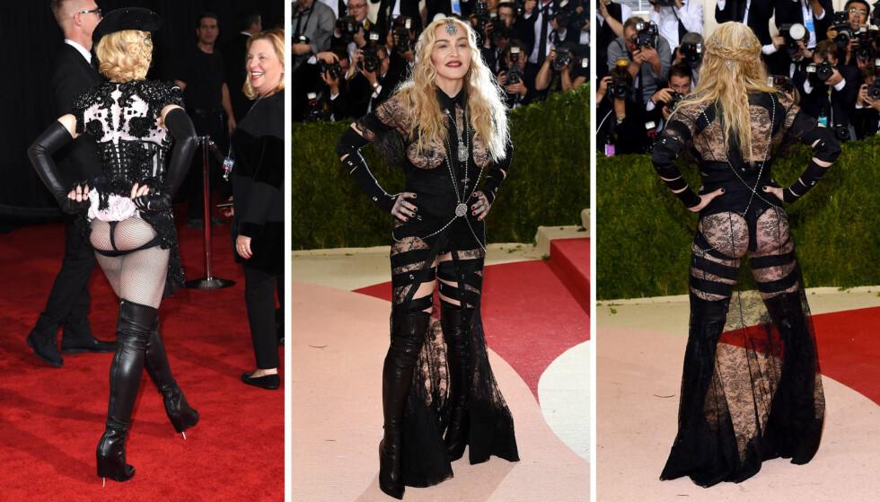 «CHEEKY» STUNT: På Grammy Awards 2015 skapte Madonna overskrifter da hun flashet bakenden sin for fotografene (t.v). På Met-gallaen i 2016 gjentok hun stuntet i et antrekk som var enda mer avslørende. Foto: NTB Scanpix