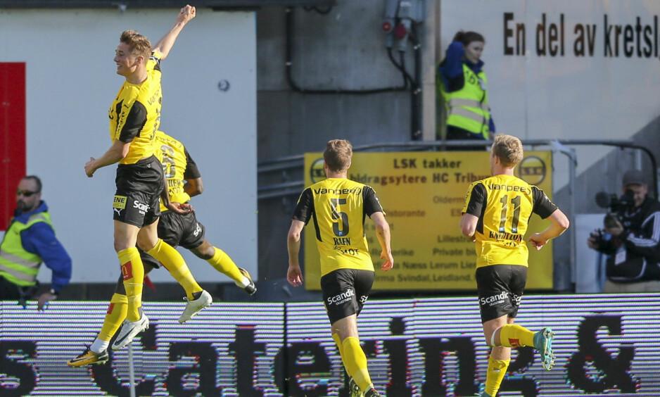 MÅL: LSK jubler for scoring. 1- 0 ved Ifeanyi MathewFoto: Borgen, Ørn / NTB scanpix