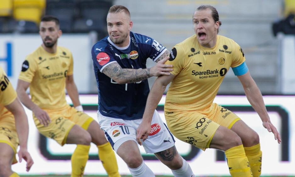 BEINHARDE: Strømsgodsets Marcus Pedersen (t.v.) og Bodø/Glimts Martin Bjørnbak hadde mange saftige dueller. Foto: Mats Torbergsen / NTB scanpix