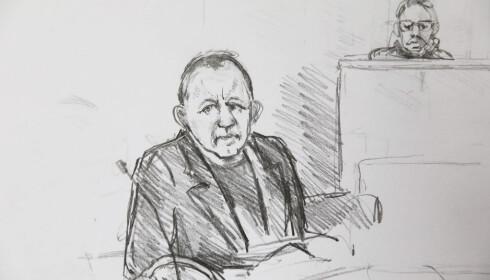 DØMT TIL LIVSTID: Rettstegning av Petter Madsen under domsavisigelsen i saken mot Peter Madsen. Foto: Anne Gyrithe Schütt / Ritzau Scanpix / NTB scanpix