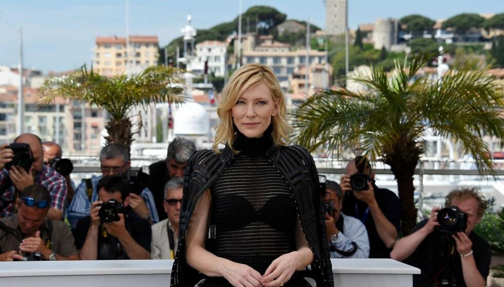 GJENGANGER: Skuespiller Cate Blanchett er en gjenganger under Filmfestivalen i Cannes, og i år leder hun juryen som skal dele ut gullpalmen til en av de tyve filmene i hovedkonkurransen. Foto: AFP PHOTO / LOIC VENANCE