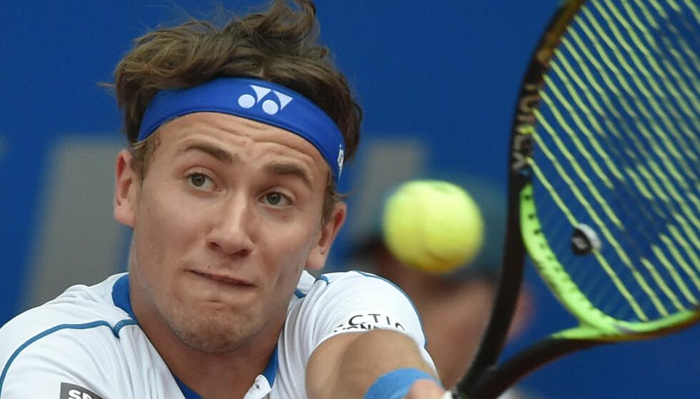 VIDERE: Casper Ruud tok seg til andre runde i Challenger-turneringen i Portugal. Foto: AFP PHOTO / dpa / Angelika Warmuth