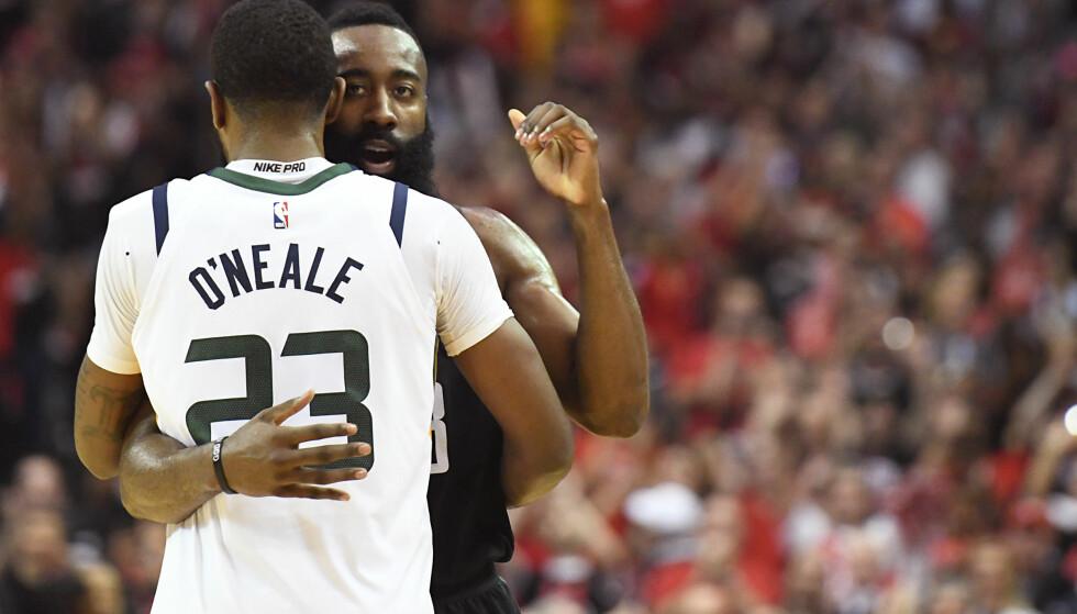 TRAKK DET LENGSTE STRÅET: James Harden og Huston Rockets slo Utah Jazz og tok seg til semifinale. Golden State Worriors tok seg også til semifinalen i sluttspillet. Foto: Thomas B. Shea/USA TODAY Sports