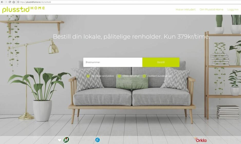 NY PORTAL: Orkla står bak den nye portalen Plusstid Home, som formidler kontakt mellom privatkunder og vaske-firmaer. Skjermdump: Plusstidhome.no.
