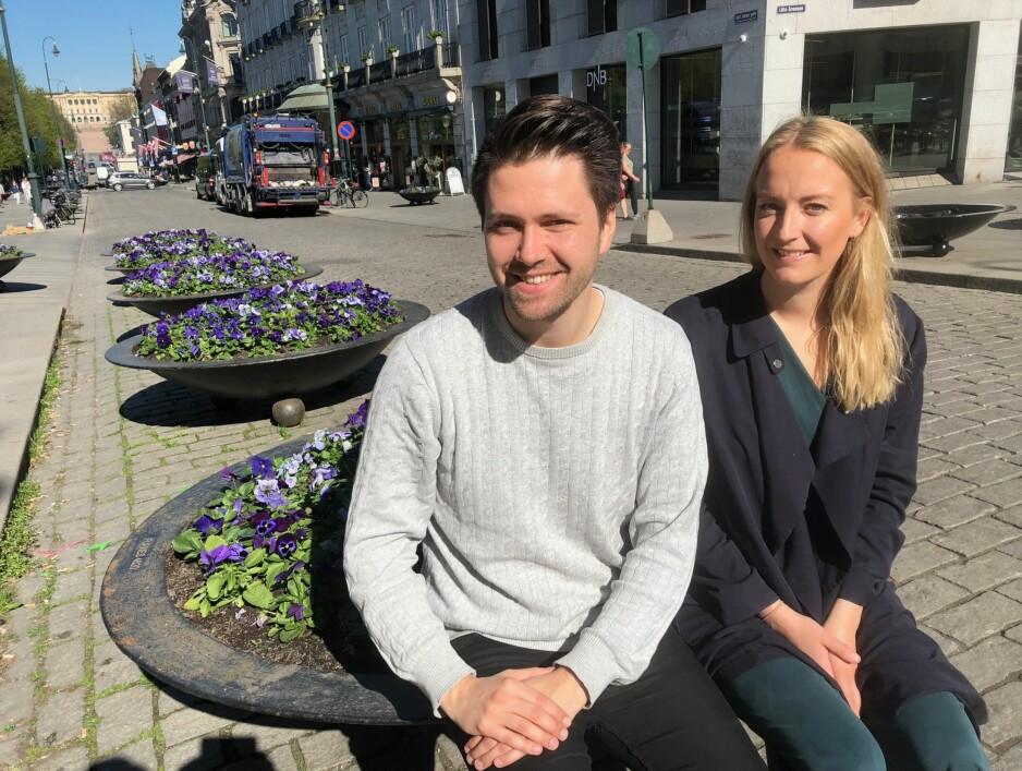 UENIGE: Bjørn-Kristian Svendsrud, leder i FpU, og Sandra Bruflot, leder i Unge Høyre, er uenige med ungdomspartilederne i KrF og SV om at BSU-ordningen gavner unge fra velstående familier. Foto: Gunnar Ringheim / Dagbladet