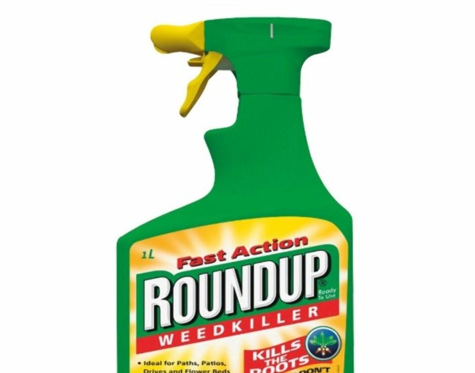 ROUNDUP: Det kjemiske stoffet glyfosat markedsføres bland annet gjennom varemerket Roundup. Eieren av Roundup heter Monsanto og skal i disse dager slåes sammen med tyske Bayer. Det gjør at de vil ha kontroll på hvert fjerde frø i verden. Foto: Produsenten