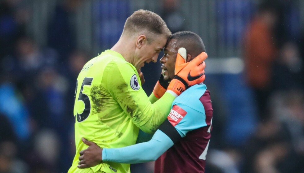 HAR SKUFFET: West Ham-duoen Joe Hart og Patrice Evra. Foto: BPI/REX/Shutterstock/NTB Scanpix