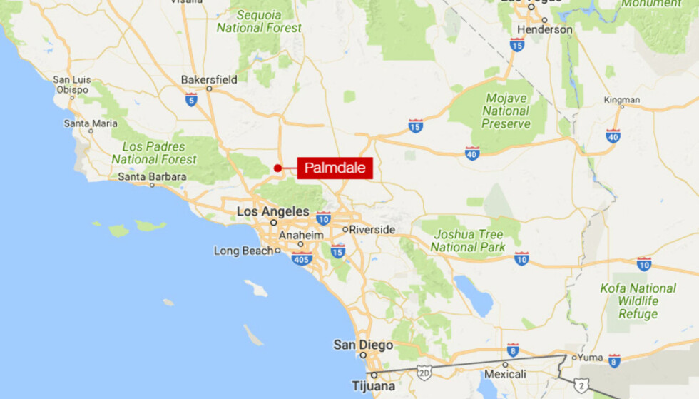 UTENFOR LOS ANGELES: Palmdale er en mellomstor by som ligger i Los Angeles fylke, med ca. 150 000 innbyggere. Kart: Google Maps