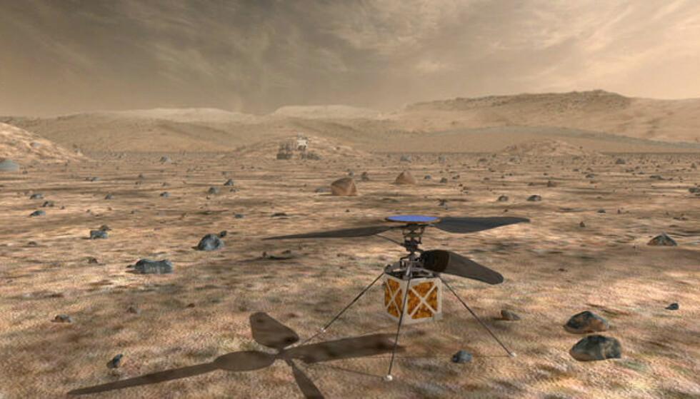 ROM-HELIKOPTER: Nasa planlegger å sende et minihelikopter på omkring 1,8 kilo til planeten Mars i 2020. Illustrasjon: Nasa / JPL-Caltech