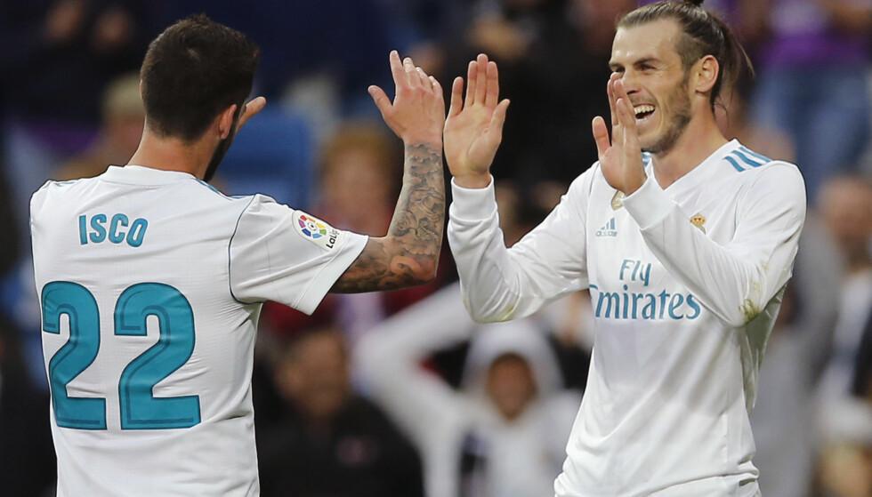 HERJET: Gareth Bale og Isco. Foto: AP Photo/Paul White