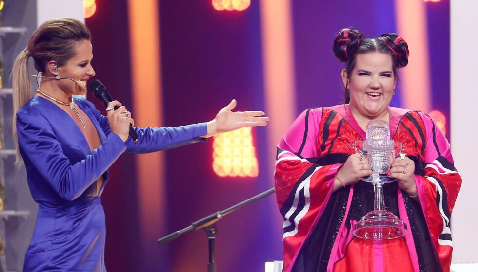 TOK SEIEREN HJEM: Israel og Netta vant lørdagens finale i Eurovision Song Contest med sangen «Toy». Foto: NTB scanpix