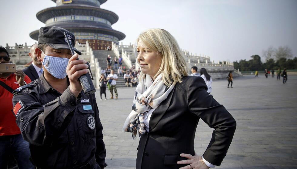 AVSLÅR AVSTEMNING: Kommunal - og moderniseringsminister Monica Mæland på besøk i Beijing. Hun sier til Dagbladet at folkeavstemningen som holdes i morgen ikke vil endre planene for sammenslåingen mellom Troms og Finnmark. Foto: Nina Hansen / Dagbladet