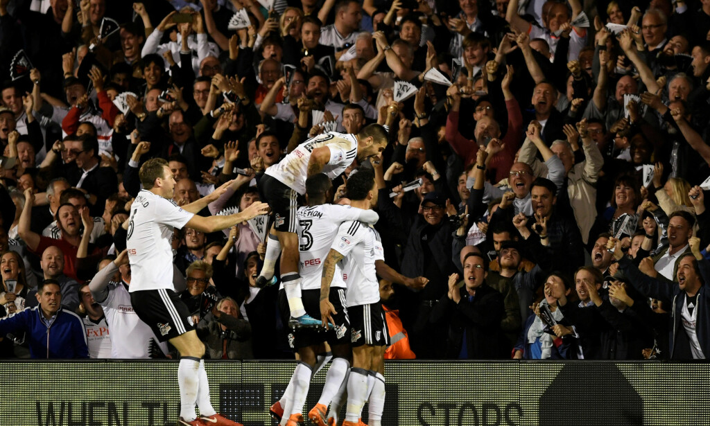 TIL FINALE: Fulham er klare for playoff-finale på Wembley etter å ha slått ut Derby over to kamper. Foto: Reuters/Tony O'Brien/NTB scanpix