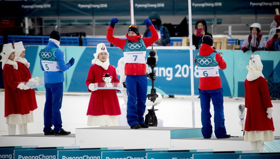 DRØM: Simen Hegstad Krüger vant åpningsdistansen i OL 30 km fellesstart med skibytte foran Martin Johnsrud Sundby og Hans Christer Holund. Foto: Bjørn Langsem / Dagbladet