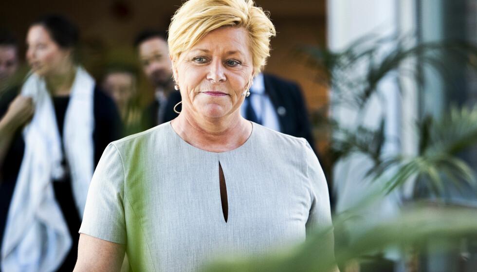 Oslo  20180515. Finansminister Siv Jensen på vei for å legge frem hovedtrekkene i revidert nasjonalbudsjett. Foto: Tore Meek / NTB scanpix