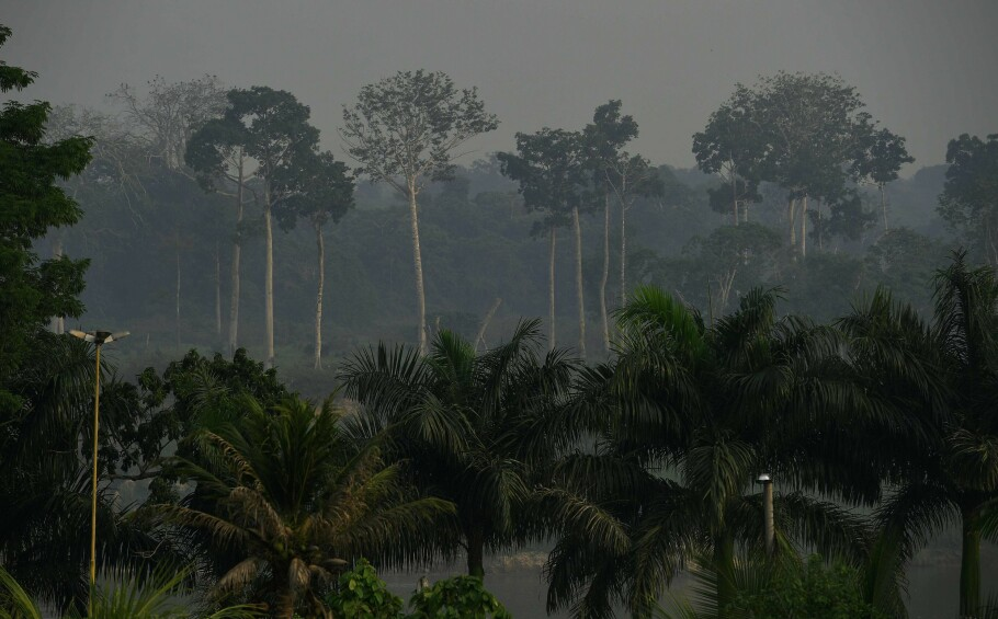 OPP I RØYK: Norge bruker milliarder gjennom klima- og skoginitiativet for å forsøkte å stoppe raseringen av de tropiske regngskogene. Her henger det røyk i lufta fra et avskoget område i Vest-Amazona i Brasil, en septemberdag i 2017. Foto: AFP/ NTB Scanpix