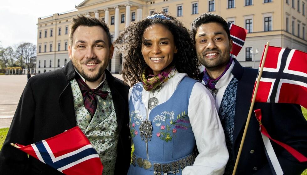 TRE NORDMENN: Dennis Vareide, Haddy N'Jie og Noman Mubashir skal lede TV-sendingen hos NRK 17. mai. Det er en skummel plan for å provosere hvite nordmenn, står det i Nettavisen. Foto: NTB Scanpix