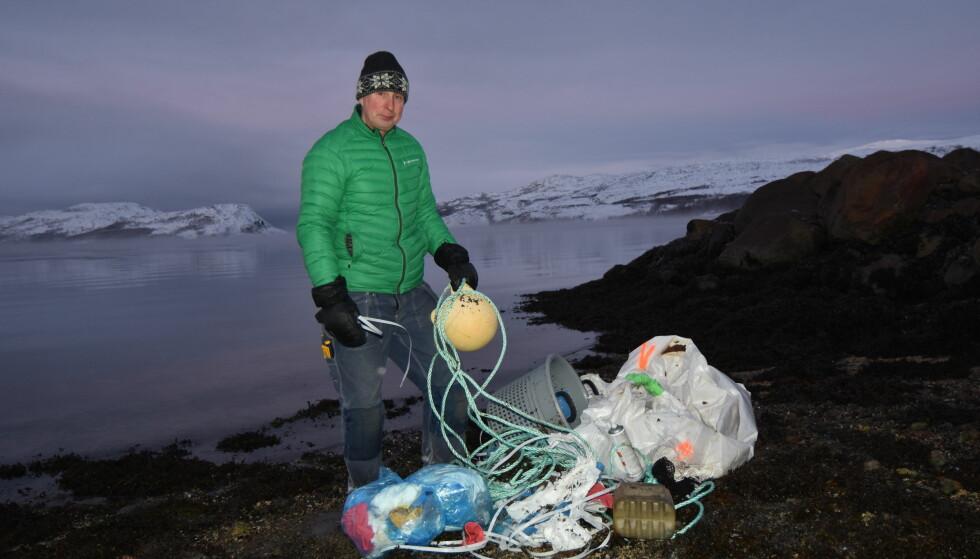 Farlig avfall: Plastavfall samlet inn ved Varangerfjorden. Foto: Thomas Nilsen