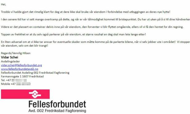 SENDTE EPOST: Denne eposte ble sendt fra Vidar Schei til Ole Fredrik Qvale. Skjermdump fra mailen.