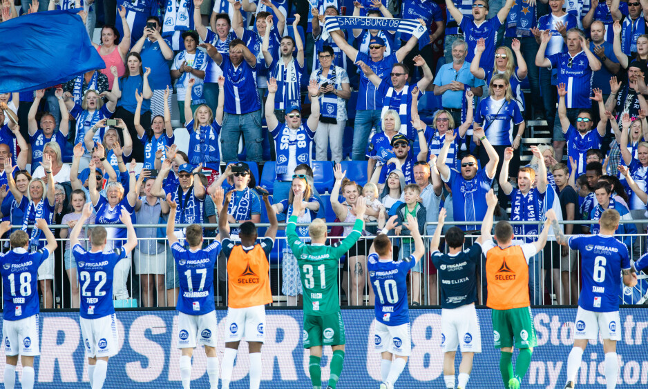 JUBEL: Sarpsborg slo Start 4-0 i kveld. Foto: Audun Braastad / NTB scanpix