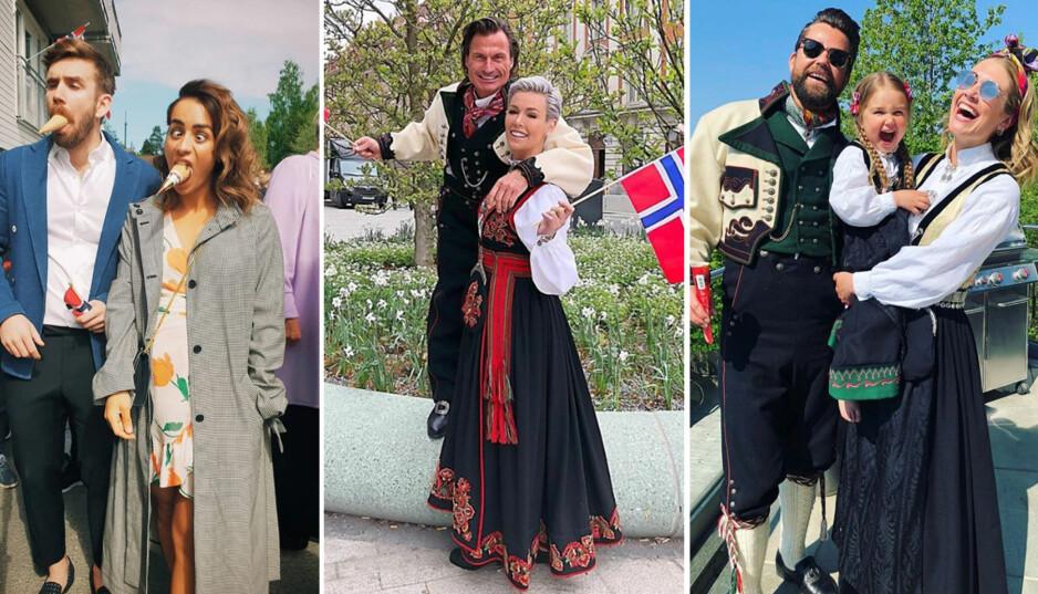 FEIRING: Kjendisene deler hyppig bilder av sin 17. mai-feiring på sosiale medier. Her Stian Blipp, Petter og Gunhild Stordalen og Tone Damli. Foto: Instagram