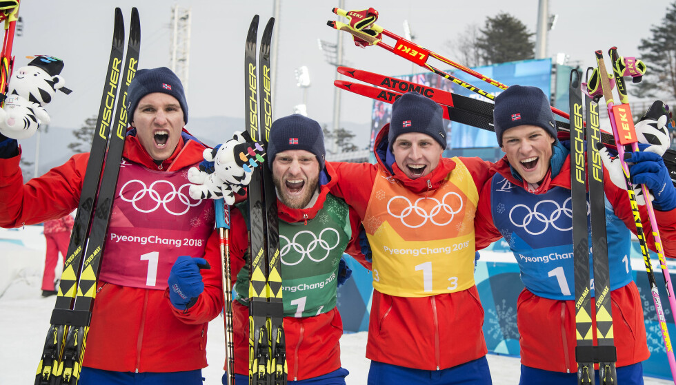 MER Å JUBLE FOR: Norge vant den tradisjonelle stafetten under OL i Pyeongchang. Om FIS øverste styre får det som de vil blir distansen værende det samme i mesterskap fremover. Foto: Hans Arne Vedlog/Dagbladet