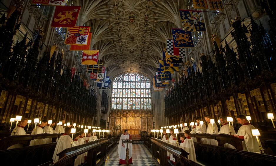 SPENT STEMNING: St. George's Chapel Choir øver seg foran dagens begivenhet på Windsor Castle. Foto: NTB Scanpix