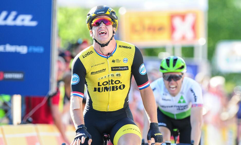 NY DUELL: Igjen stod kampen om seieren mellom Dylan Groenewegen og Edvald Boasson Hagen i Sarpsborg. FOTO: Mario Stiehl/Tour of Norway