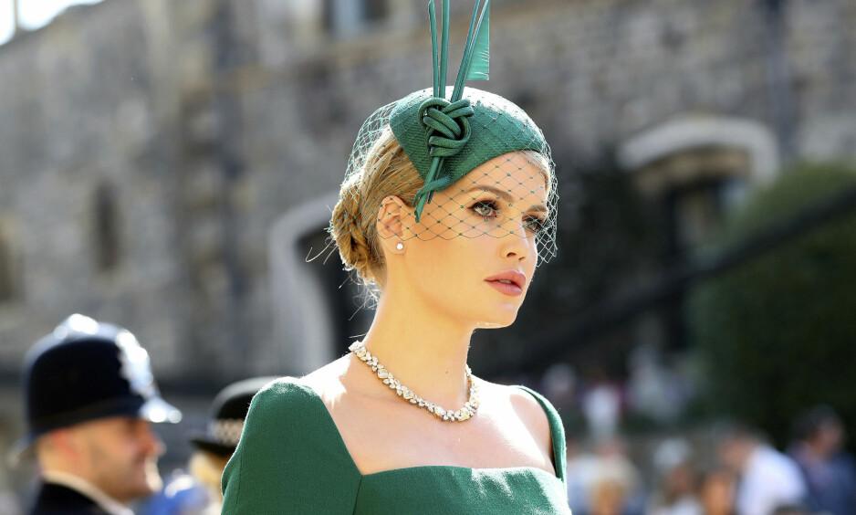 SLÅENDE VAKKER: Mange har sperret øynene opp for 27 år gamle Lady Kitty Spencer etter at hun slo gjennom som modell for noen år siden. Hun ble også godt lagt merke til i lørdagens prinsebryllup i Windsor. Foto: NTB scanpix