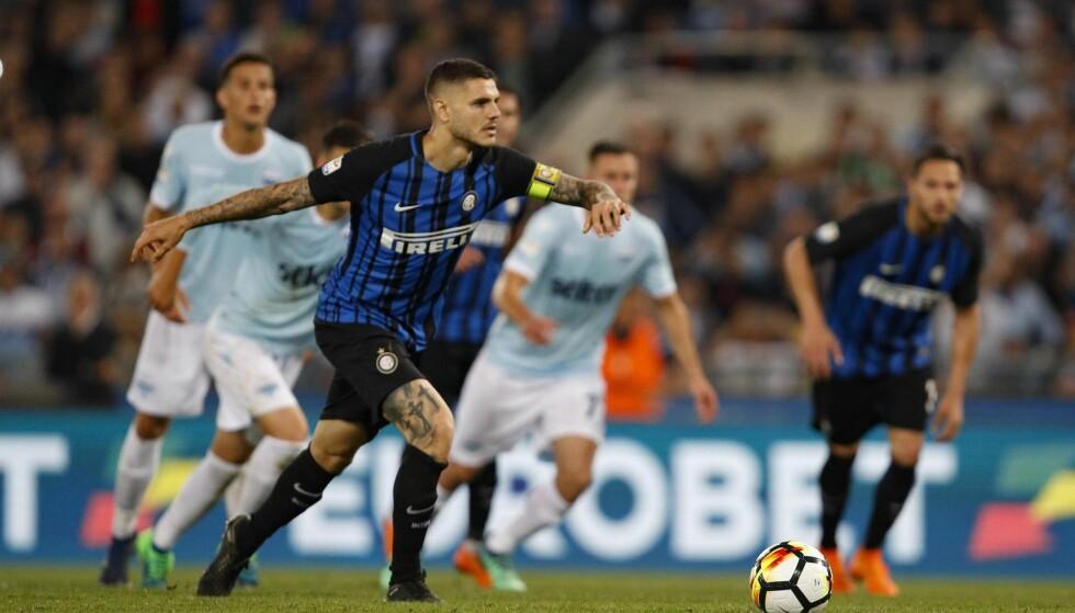 KLARE FOR MESTERLIGAEN: Mauro Icardi og Inter nudde kampen og vant 3-2 borte mot Lazio søndag kveld. Foto: NTB/Scanpix