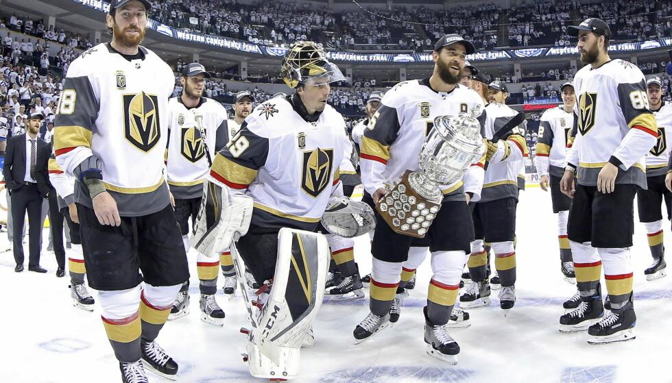 FINALE: Vegas Golden Knights er klar for finalen i Stanley Cup. Winnipeg Jets ble slått i best av sju-serien i Western Conference-finalen. Foto: Trevor Hagan/The Canadian Press via AP / NTB scanpix.