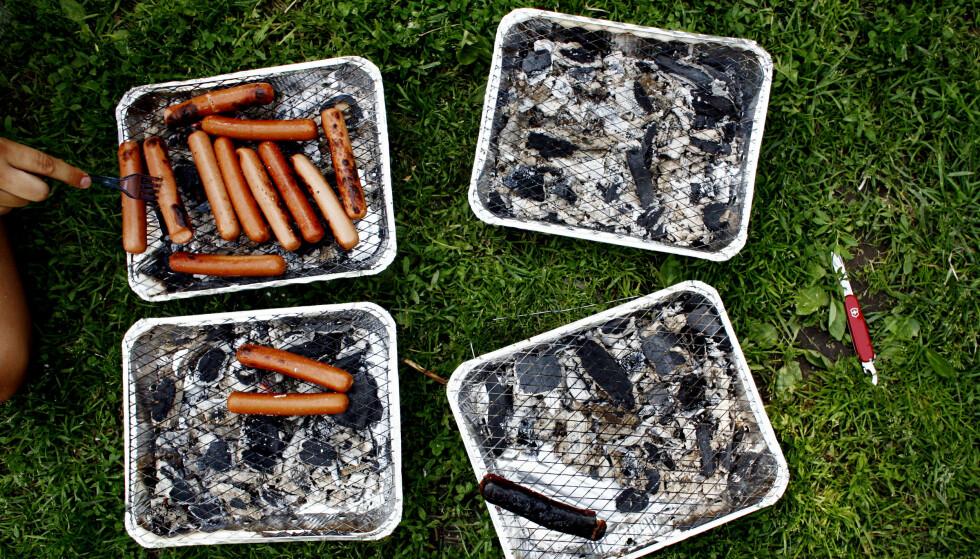 FORBUD: I flere kommuner er det nå totalforbud mot å fyre opp engangsgriller utenfor din egen hage. Det oppfordres også til varsomhet i nesten hele Norge fra Trøndelag og sørover på grunn av stor skogbrannfare. Foto: Sara Johannessen / SCANPIX