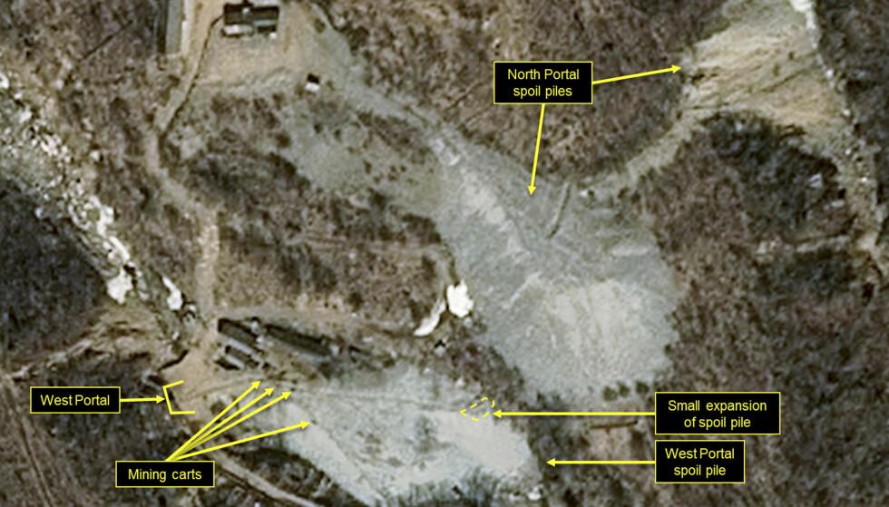 SKAL ØDELEGGES: En gruppe utenlandske journalister er nå på plass i Nord-Korea for å dekke ødeleggelsen av landets anlegg for atomprøvesprengninger i Punggye-ri, sett på dette satellittbildet fra mars i år. Foto: Airbus Defense and Space / 38 North / AP NTB scanpix