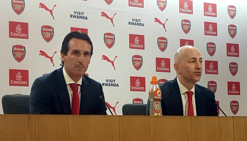 OFFENSIV: Unai Emery ble onsdag presentert som Arsenal-manager i London. Han framsto svært offensiv. Foto: NTB/Scanpix