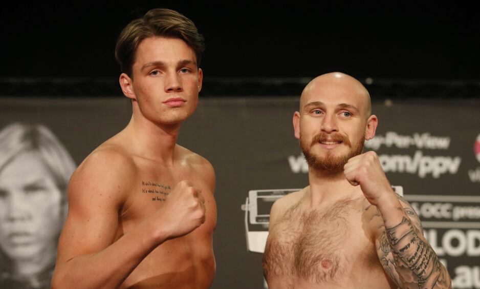 KLAR FOR COMEBACK: Anders Eggan (21). Her med Lewis van Poetsch, som han slo i sin første proffkamp i oktober i fjor. Foto: Lise Åserud / NTB scanpix