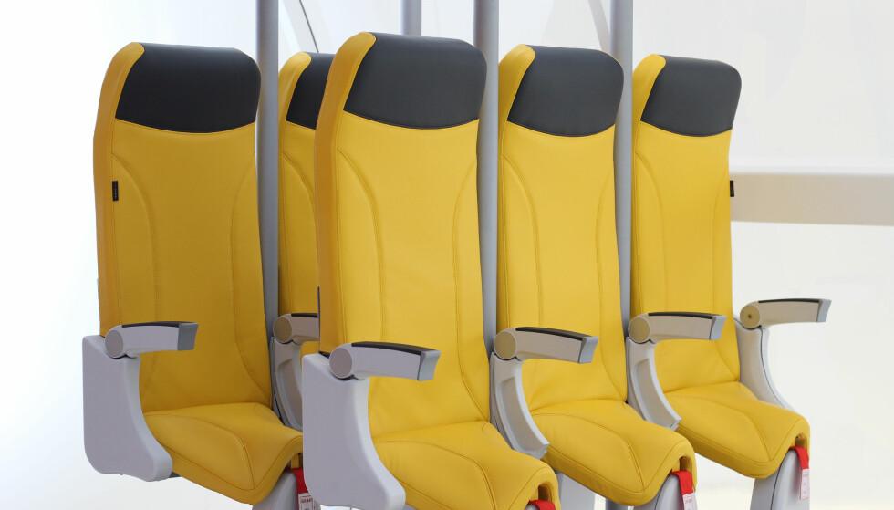 SKYRIDER: Dette flysetet, hvor du står mer enn du sitter, ble lansert på ei luftfartsmesse i Hamburg i vår. Spørsmålet er om noen flyselskap faller for ideen. Foto: Aviointeriors