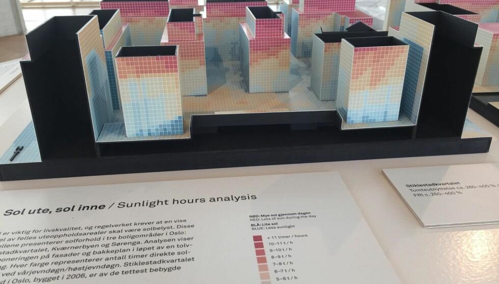 GJERRIG PÅ LYS: En av modellene på «Visning», som illustrerer det begrensede antall soltimer i Stiklestadkvartalet på Grønland. Foto: Mikael Godø