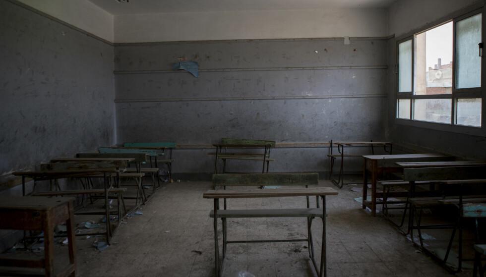 KLASSEROMMET: Klasserommet Mohamed Salah hadde i hjembyen Nagrig. Foto: DPA / NTB Scanpix