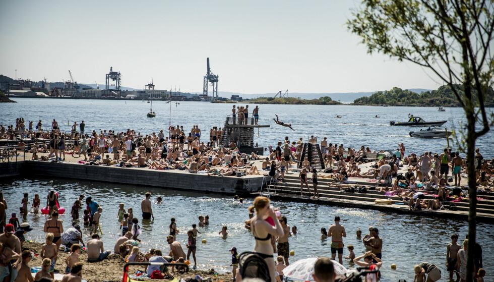 HETT: Sørenga har vært et yndet badested de siste dagene før det ble stengt på grunn av oljelekkasje. Foto: Christian Roth Christensen / Dagbladet