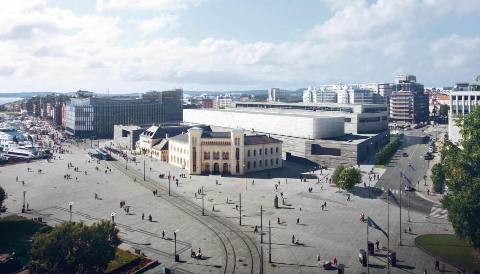 LYSER OPP: Slik skal det nye Nasjonalmuseet se ut, med «Alabasthallen» som lyser opp Oslo. Foto: MIR (illustrasjon), Statsbygg / Kleihues + Schuwerk