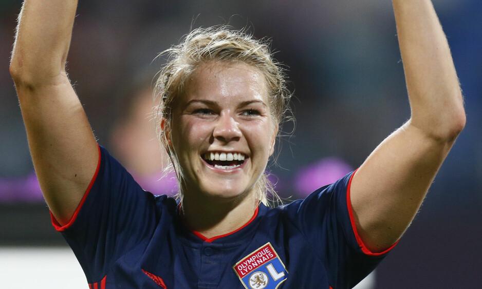 STORSCORER: Ada Hegerberg scoret sitt 31. mål mot Rodez Eveyron søndag. Foto: Efrem Lukatsky / AP Photo / NTB Scanpix