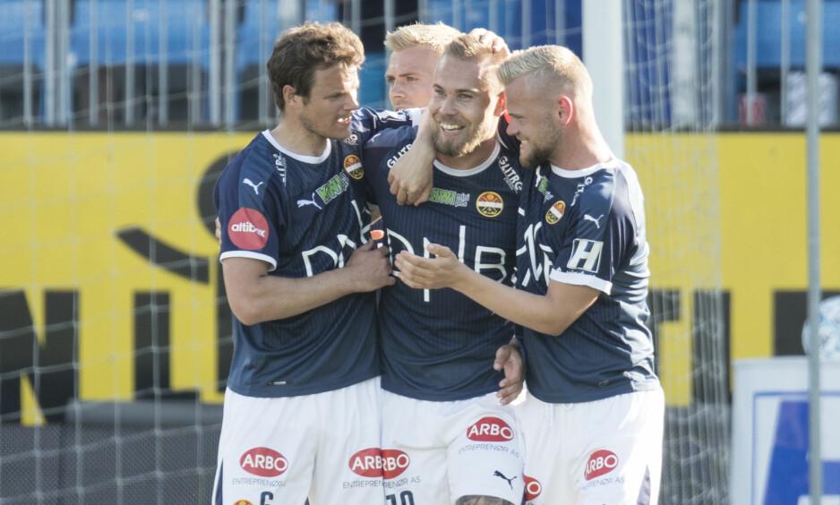 FEIRING: Marcus Pedersen kunne juble for scoring. Foto: Ruud, Vidar / NTB scanpix