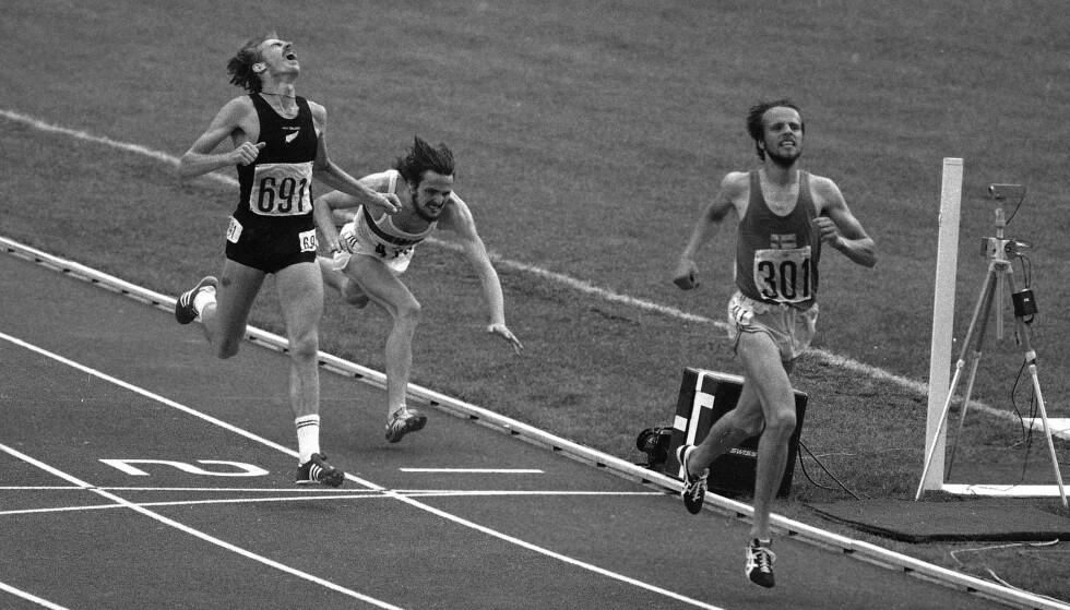 OL-SØLV: i 1976 løp Quax inn til OL-sølv på distansen 5000-meter. Den avdøde løperen fra New Zealand er til venstre i bildet, og har startnummer 691 på brystet. Foto: AP Photo
