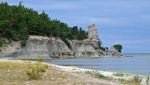 UNIKT: Jungfrun er Gotlands høyeste rauk, som strekker seg 27 meter over havet. Foto: Gotland.net